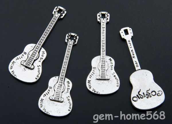 Tibetan Silver 3D Guitar 62mm Pendant Charm X 011