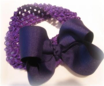 Girls Baby Boutique Hair Bows PURPLE Loop Bow Headband