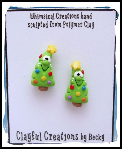 Polymer Clay Christmas Jewelry.Beckys Polymer Clay Christmas Tree Earrings Post