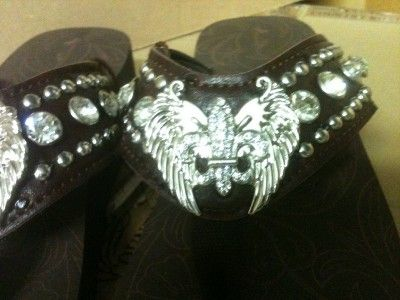 Angel Wing Fleur De Lis Cross BRN Western Rhinestone Flip Flop Sandals