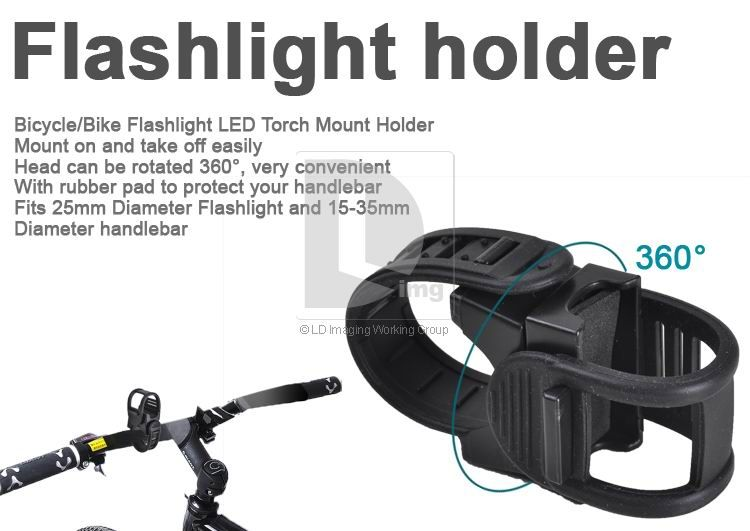 Bicycle Bike Cycling 25mm Flashlight LED Torch Mount Holder 15 35mm