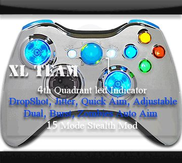 XBOX 360 MODDED RAPID FIRE CONTROLLER XCM CHROME BLUE